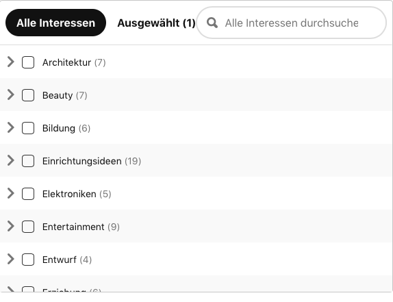 Pinterest Interessen
