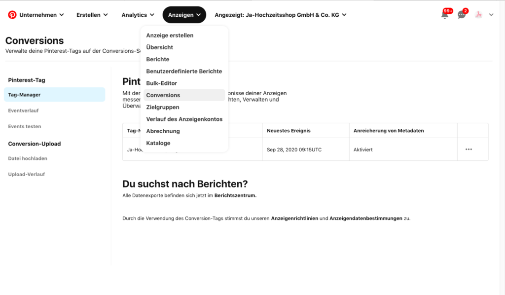 Pinterest Ads Tracking einrichten